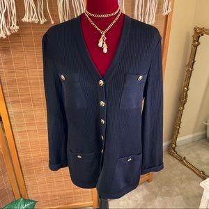 Vintage St. John Basics Cardigan Size 8 Black